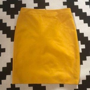 J. Crew Pencil Skirt Mustard Yellow Sz 6 NWT